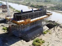 Timbering for formation of support of bridges and