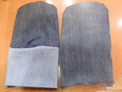 Mittens jeans with the double handheld, Mittens
