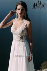 Легкое шифоновое свадебное платье со шлейфом