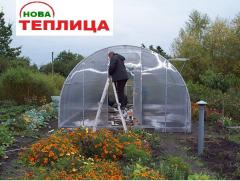 Greenhouses universal under polycarbonate and a