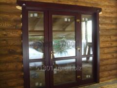 Двери деревянные(стеклопакет)