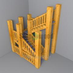 Лестница деревянная с  резными перилами Mod 7