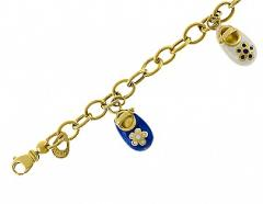 Gold bracelet of the 585th test with enamel, the