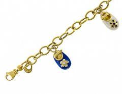 Золотой браслет 585 пробы с эмалью ,Артикул