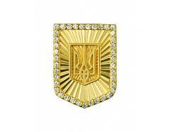 Золотой значок 585 пробы с фианитами ,Артикул