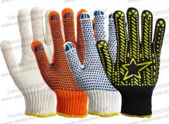 Knitted gloves workers (white PVC a.8310 point)