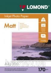 Двусторонняя матовая фотобумага для струйной печати, A4, 170 г/м2, 100 листов, код 0102006