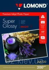 Суперглянцевая ярко-белая микропористая фотобумага для струйной печати, A4, 200 г/м2, 20 листов, код 1101112
