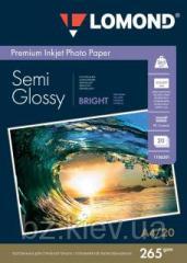 Полуглянцевая двусторонняя ярко-белая микропористая фотобумага для струйной печати, A4, 265 г/м2, 20 листов, код 1106301