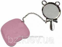 Зеркальце c ручкой в розовом чехле с покрытием для сублимации, код GRW03.01.041/LCH