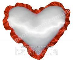 Наволочка в форме «Сердце» для сублимации, с красной каймой, код PLW04.00.012/UA