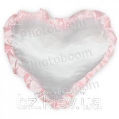 Наволочка в форме «Сердце» для сублимации, с розовой каймой, код PLW04.00.012/UA