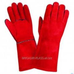 Перчатки краги замшевые красные уп. 6 пар. ,Модель  P-19-2