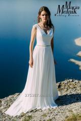 Легкое шифоновое свадебное платье с открытой спинкой