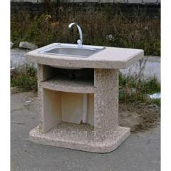 Sink added for a garden fireplace - a barbecue