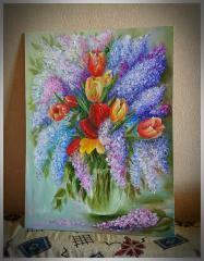 """Картина """" Тюльпаны в сирени """""""
