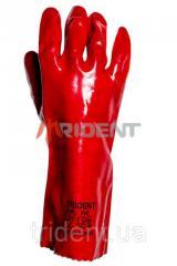 Перчатки ПВХ с хб основой TRIDENT 450 PV 6101/45
