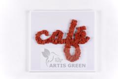 Вывеска Artis Green из стабилизированного мха.