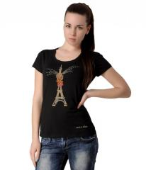 T-shirt black, female with the Eiffel Tower