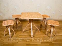 Комплект плетеной мебели из лозы для кухни