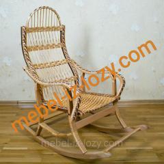 Плетеная кресло-качалка из лозы на буковом каркасе