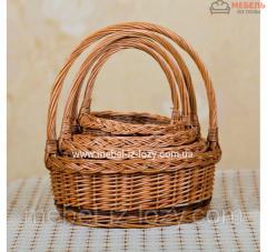 Набор плетеных корзин для подарков из цельной лозы