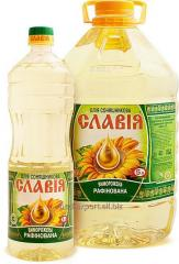The sunflower oil frozen in PET bottles on exp.