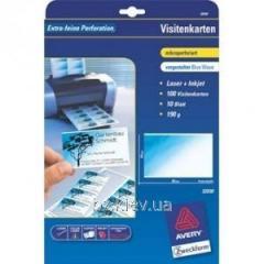 Бумага для визиток 190 гр/кв.м. Blue Wave, микроперфорация, 85*54 мм, для лазерной и струйной печати, А4, код 32030