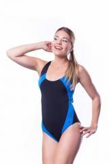 Купальник женский для плавания SHEPA 009 черно-голубой (original) (Польша)