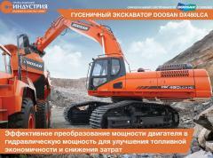 La excavadora Doosan DX480LCA de oruga