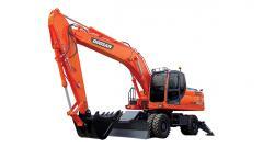 La excavadora Doosan DX210WA de rueda