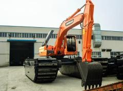 Doosan DX225LC SLR special equipment on pontoons