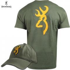 Футболка и кепка для охоты и рыбалки Browning Gold Buckmark T-Shirt/Cap Combo