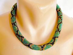 Украшение ожерелье жгут Зеленый питон Р 049