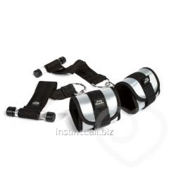 A set of soft handcuffs with adjustable thongs of