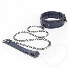 Collar from genuine leather with a chain of Fifty