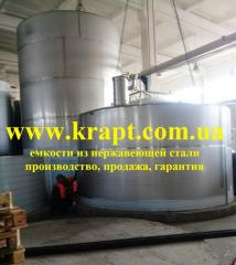 Capacities for storage from stainless steel