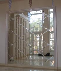 Panel from mirror tiles with fasety