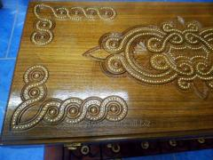 Backgammon is decorative, manual handiwork, a tree