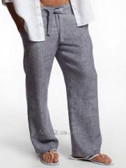 Men's trousers summer of natural flax. linen