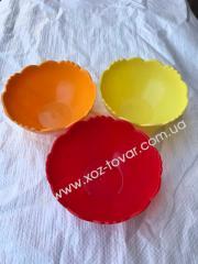 Миска маленькая пластик 3 цвета,  шт.
