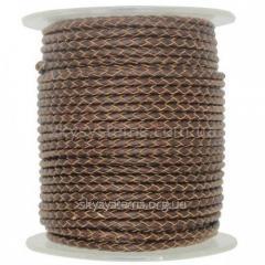 Кожаный плетеный шнур | 3,0 мм, Коричневый | Италия
