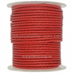 Кожаный плетеный шнур | 3,0 мм, Красный | Италия