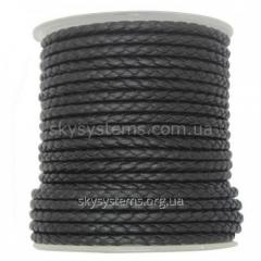 Leather wattled cord | 4,0 mm, Black | Italy