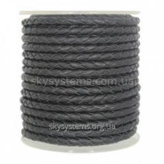 Leather wattled cord | 5,0 mm, Black | Italy