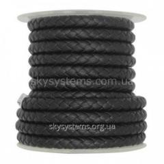 Кожаный плетеный шнур | 8,0 мм, Черный | Италия