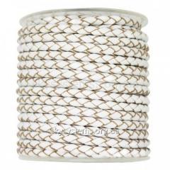 Кожаный плетеный шнур | 3,0 мм, Белый | Италия