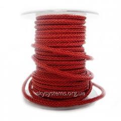 Квадратный плетеный кожаный шнурок | 4,0 х 4,0 мм Цвет: Красный (Австрия)