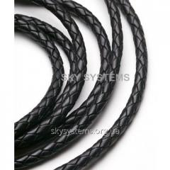 Leather wattled cord | 5,0 mm, Black | India