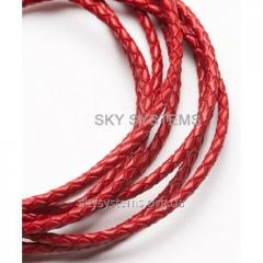 Leather wattled cord | 3,0 mm, Red | India